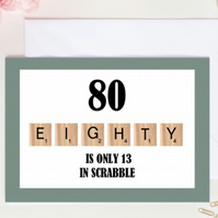 Scrabble 80th Greetings Card