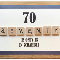 Scrabble 70th Greetings Card