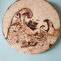 Woodburned Wave Wall Decoration
