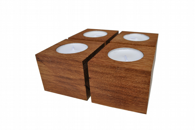 Oak Candle Holders - Set of 4 oak wood candle holders - oak tealight holders