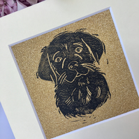Tiny Black on Gold Labrador Portrait Linocut Print
