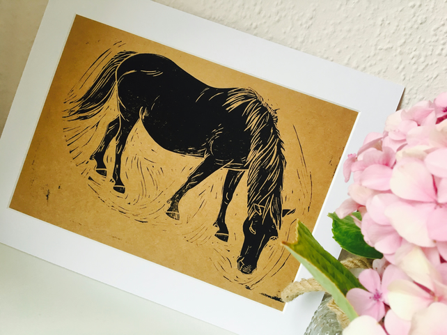 Grazing New Forest Pony Linocut Print