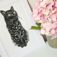 Sitting Cat Black Linocut Print