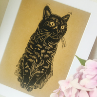 Sitting Black Cat Linocut Print on Kraft Paper