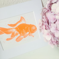 Orange Goldfish A5 Linocut Print