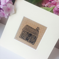 Tiny Cottage Linocut Print