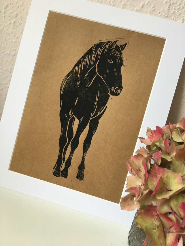 Black Horse Portrait Linocut Print on Kraft