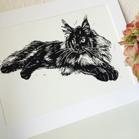 Maine Coon Cat Black Linocut Print