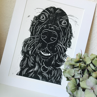 Golden Retriever Dog Portrait Linocut Print