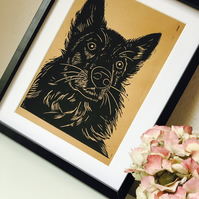 German Shepherd Linocut Dog Portrait