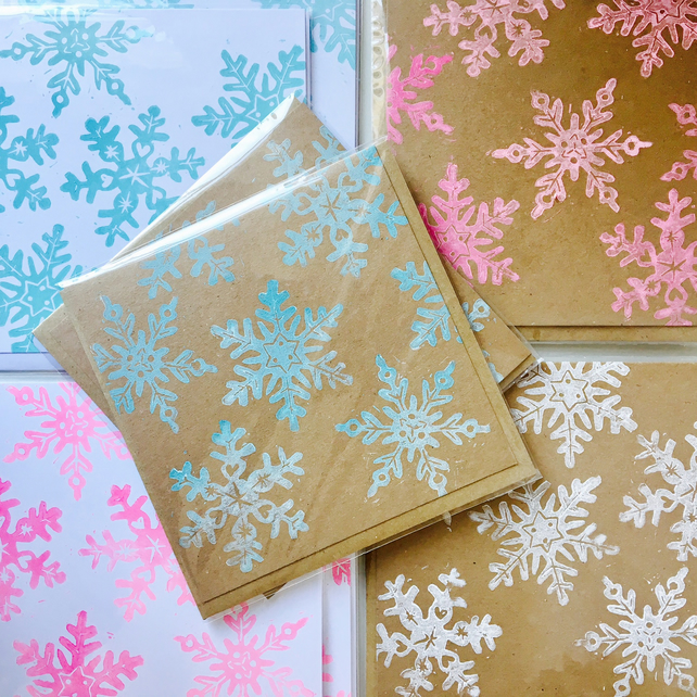 Pack of 5 Handmade Snowflake Christmas Cards