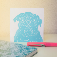 Square Pug Print Greeting Card