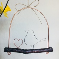 Handmade Copper and Silver Bird and Heart Hanging Decoration
