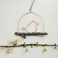 Tiny Copper Bird Hanging Decoration