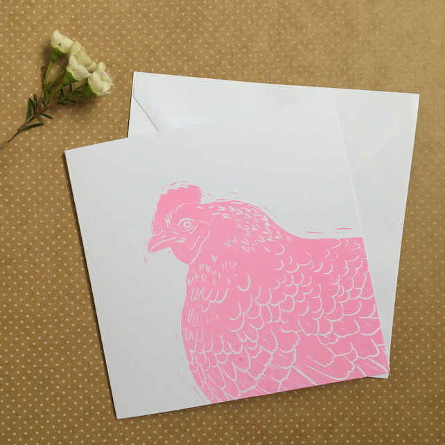 Pink Hen Easter Card