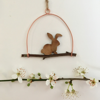 Brown and Copper Tiny Easter Bunny Decoration