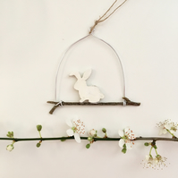 Tiny Wooden White Easter Bunny Hanging Decoration