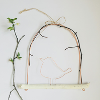 Large Handmade Copper Wire and Wood Hanging Bird Decoration