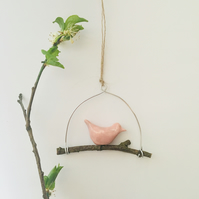Small Pink Bird on Branch Hanging Decoration