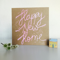Square Handmade New Home Pink Text Card