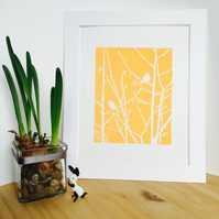 Yellow Birds on Branches Linocut Print