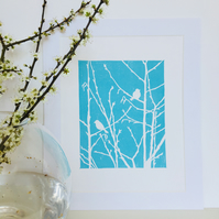 Turquoise Birds on Branches Linocut Print