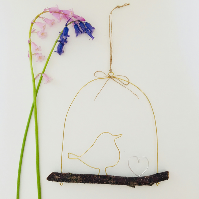 Handmade Wire Bird and Heart Hanging Decoration