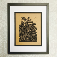 Black Acorn and Oak Leaf Linocut Print