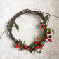 OOAK Autumn Dried Rosehip and Birch Indoor Wall Wreath