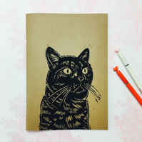 A5 Black Cat Print Notebook