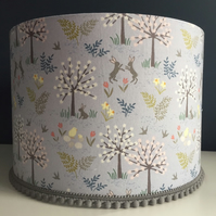 Handmade lampshade hares & flowers in lavender grey fabric 30cm - Made to Order