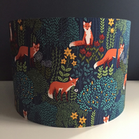 Handmade lampshade fox in the woods floral on navy fabric 30cm - Made to order