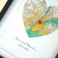Distance Couple Gift, Distance Heart Map, Custom Heart Map, Heart Map For Couple