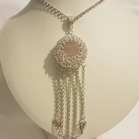 Rose Quartz Bezelled Chainmaille Necklace