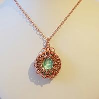 Aqua Shell Pearl Chainmaille Necklace