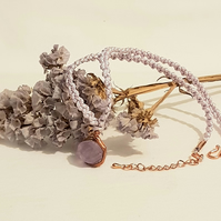 Amethyst Wire Wrapped Macrame Necklace