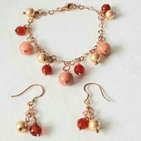Rose Gold Plated  Sterling Silver Orange Chalcedonay & Peach Aventurine Set