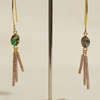 Gold Plated Abalone &  Seed Bead Earrings