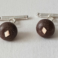 Silver Plated Brown Agate Cufflinks