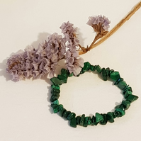 Malachite  Stretch Nugget Bracelet
