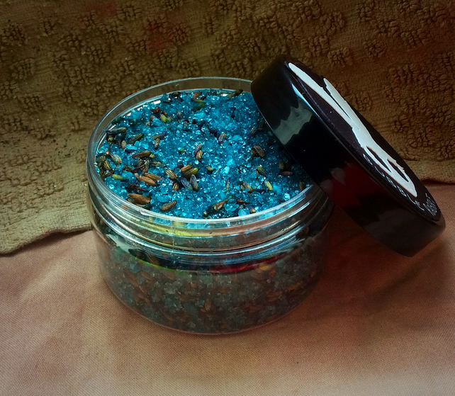 BLUE LAVENDER - Lavender Bath Salt - Relaxing - Fresh - Vegan -- 100ml