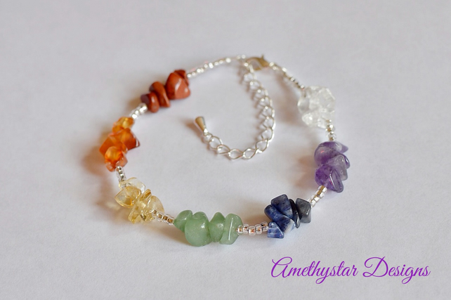 Chakra Bracelet made with Semi-Precious Gemstone Chips
