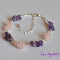 Amethyst & Rose Quartz Gemstone Chip Bracelet