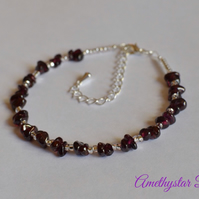 Garnet Gemstone Chip Bracelet