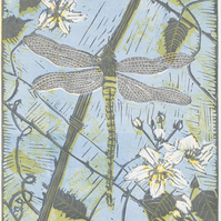 """Dragonfly on Bramble"" - lino print"