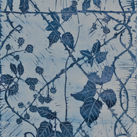 "Original lino print called ""The Bramble Patch"""