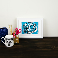 Cat Skull Lino print- Wall art print - wood cut