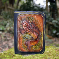 Leather Passport cover, Coi Carp Feng Shui design
