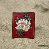 Leather wallet, Red wallet, Ladies bifold wallet with Peony flower.