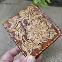 Leather wallet, Western Floral designed Bi-fold leather wallet, birthday gift, g